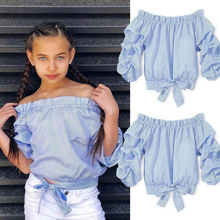 Kids Toddler Girl Summer Clothing Kids Baby Girls Striped Ruffled Off-shoulder Blouse Tops Casual T-Shirt Blouse Tops girls embroidery detail striped off shoulder blouse