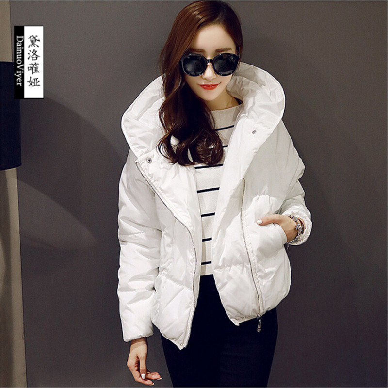 Women Winter Parka Hooded Loose Female Winter Warm Jackets And Coats White And Black Coats Female Jackets A2610 nike alliance parka 550 hooded