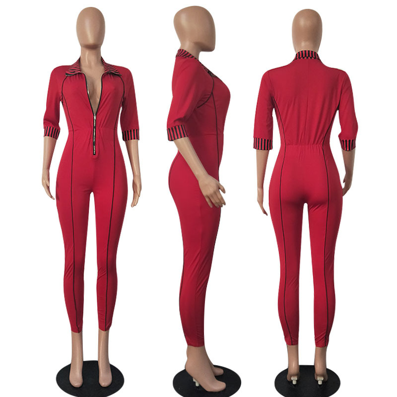 14408ff352c PinePear Long Bodycon Autumn Winter Womens Jumpsuits Rompers Sexy Skinny Red  Gold Long Sleeve Zipper Jumpsuit for Women 2019 NEW-in Jumpsuits from  Women s ...