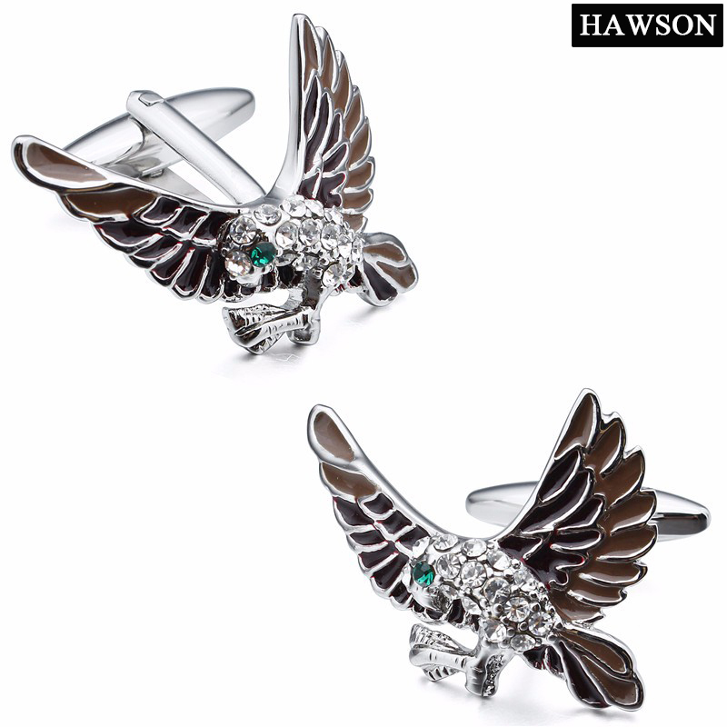 Interesting Eagle Charms Cufflinks with White&Green Crystal Cuff links For Mens Wedding Gift