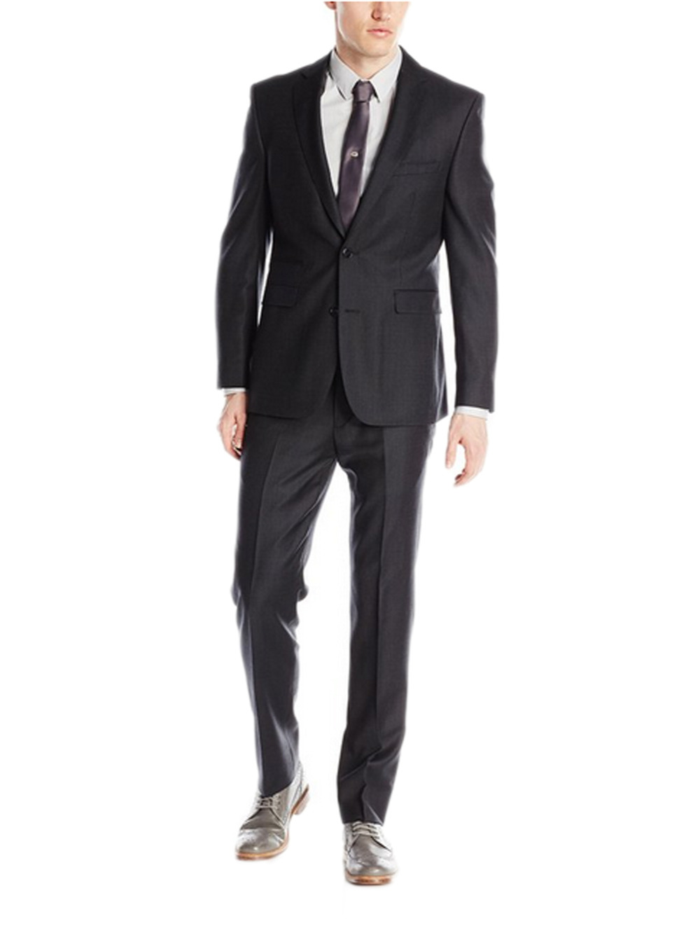DIKN Mens Two Pieces Business Slim Fit Suit Two Button Tuxedo Blazer Jacket Pants Set