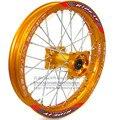 """1.85x14 pulgadas Llantas Traseras Disco De Aleación De Aluminio Llantas De Chapa de Oro CNC Hub 14 """"32 radios para bici de la suciedad pit bike rueda de repuesto"""