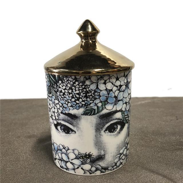 Fornasetti Candle Holder Diy Handmade Candles Jar Retro Lina Face Storage Bin Ceramic Caft Home Decoration Jewerlly Storage Box