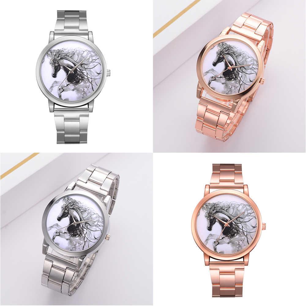למעלה מותג שעונים נשים אופנה יוקרה עלה זהב רצועת קוורץ ספורט שעון סוס סיליקון מקרית גבירותיי שמלה שעונים
