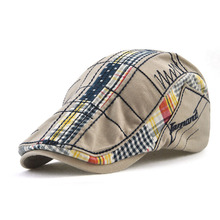 Cotton Patchwork Plaid Newsboy Cap Adult Cabbie Caps Letter Embroidery Peaked Beret Hat For Men