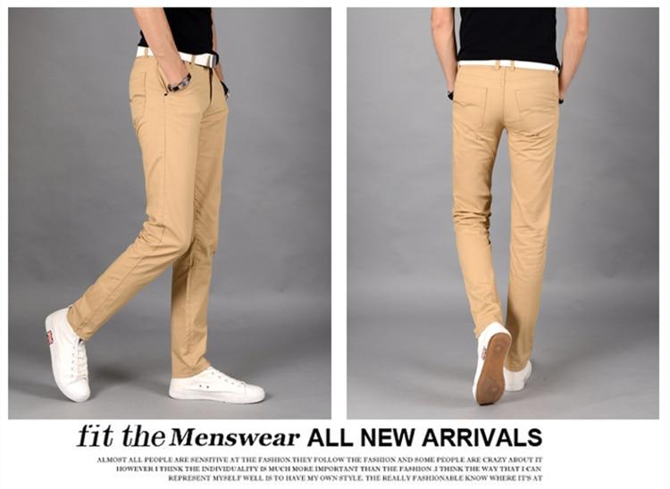 algodão puro calças casuais dos homens juventude