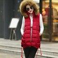 Colete Feminino,Winter 2017 Women's Vest Down Cotton Vest Female Long Jacket Plus Size Hooded Fur Collar Waistcoat Outwear C2358