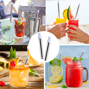 Image 5 - Telescopic Drinking Straw Collapsible Straw Foldable Reusable Metal Straw With Keychain Hole for Travel Outdoor Bar Accessories