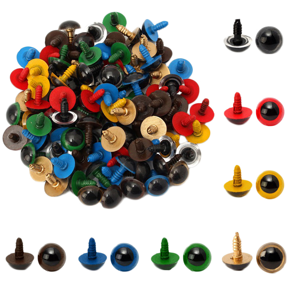 100pcs <font><b>8mm</b></font> Colorful Plastic Safety Eyes For Doll Animal Puppet Craft Plastic Safety Eyes WX0071 image