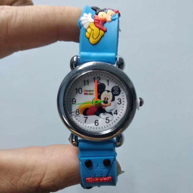 3D Cartoon Mickey Minnie Girl Boy Watch Children Silicone Quartz Wristwatch Kids
