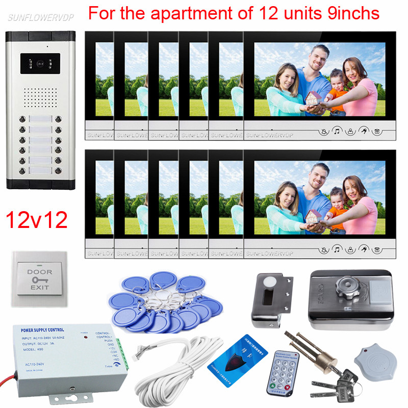 For 12 Apartments Door Camera With Bell Door Phone 9 Color 12 Lcd Monitors With Rfid Electronic Door Lock Intercom Door Bells digital electric best rfid hotel electronic door lock for flat apartment