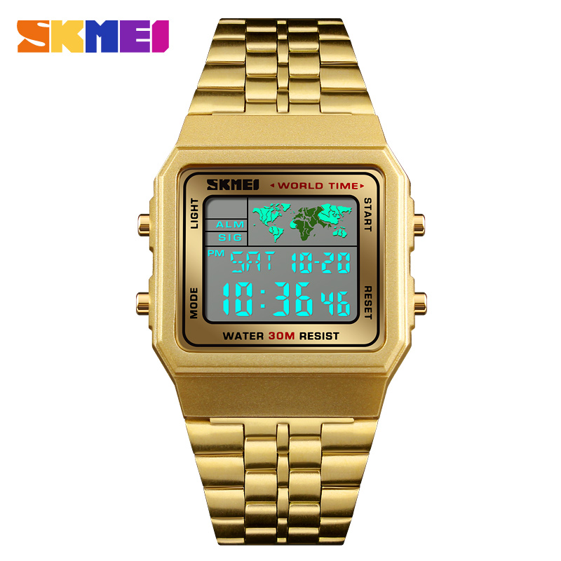Mens Gold Watches Business World Time Square Date Stainless Steel Digital Sports Chrono Wristwatch Waterproof Relogio MasculinoMens Gold Watches Business World Time Square Date Stainless Steel Digital Sports Chrono Wristwatch Waterproof Relogio Masculino