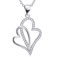 Новая горячая Распродажа цена оптовой продажи 925 Серебро Кристалл Двойное сердце подвеска Цепочки и ожерелья Никель свободный