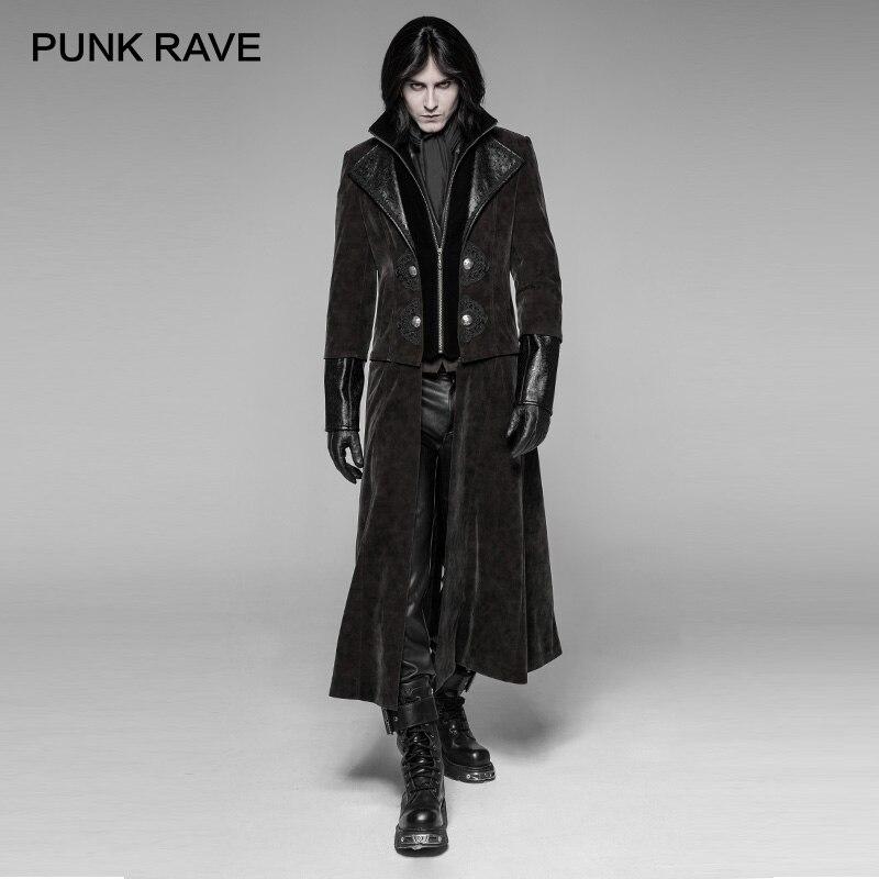 PUNK RAVE gothique détachable Gentleman Style Punk hommes longue veste hommes Twill trame velours Cospaly Harujuku Trench manteau pour hommes