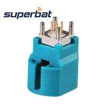 Superbat RF коаксиальный разъем Fakra HSD Z WaterBlue/5021 разъем Женский 4Pin прямые вертикальные для LDVS Dacar 535 4 жильный кабель