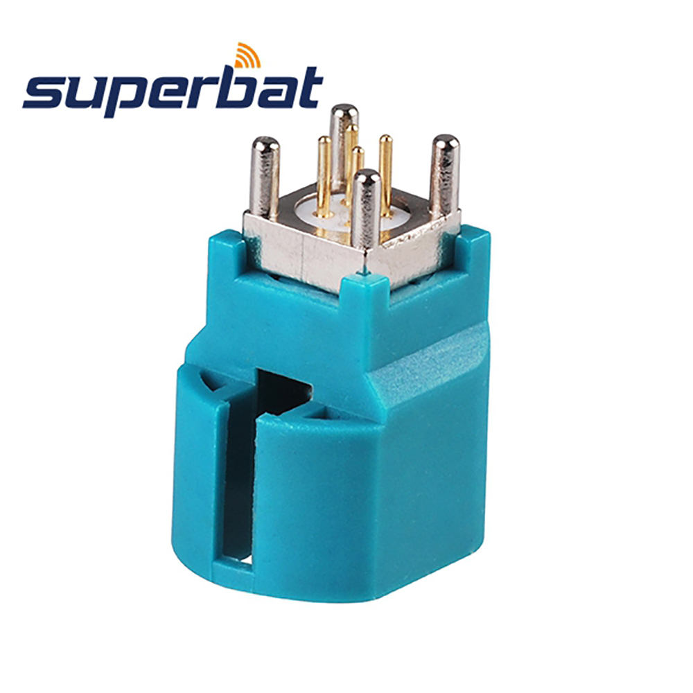 Superbat 10pcs RF Coaxial Connector Fakra HSD Water Blue/5021 Jack Female Straight Vertical PCB Mount Free Shipping