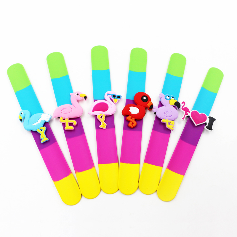 3pcs high quality fashion jewelry PVC flamingos clap wristband silicone magnet bracelet free shipping