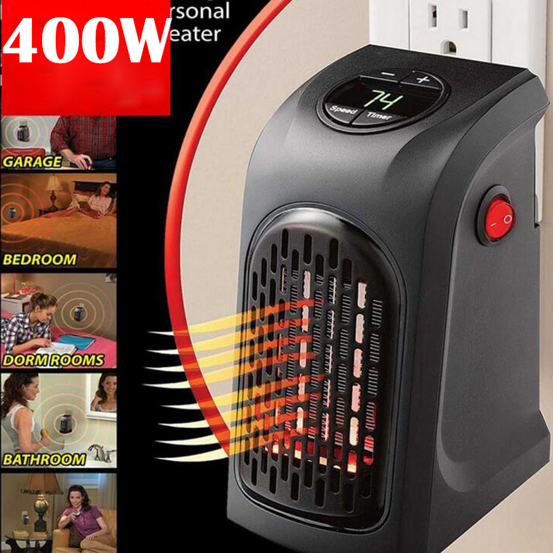EU US UK Mini Electric Heater Plug-In 400 W Wall Heater Stove Hand Warmer Hotel Kitchen Bar Bathroom Car Travelling 110-220V
