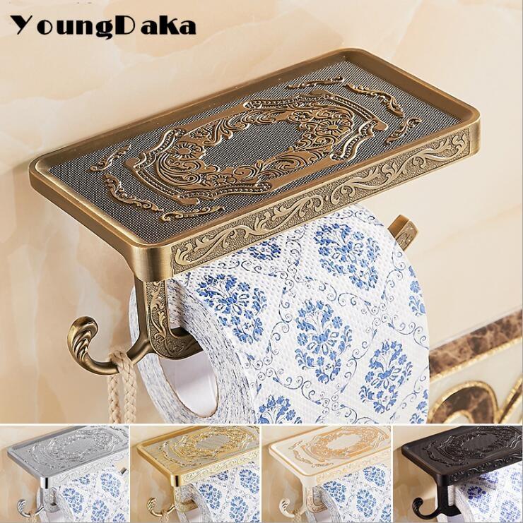 Bathroom Chrome Carving Design Toilet Paper Rack with Phone Shelf/Roll Paper Holder And Hook/Bathroom Brass Hardware Storage