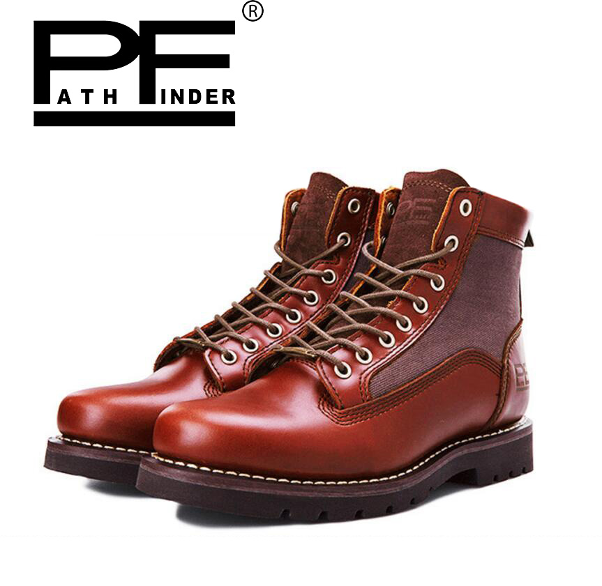 Pathfind men Genuine Leather Snow Martin Tooling military Boots winter Outdoor warm male Retro Autumn Winter mens Oxfords Shoes serene handmade winter warm socks boots fashion british style leather retro tooling ankle men shoes size38 44 snow male footwear