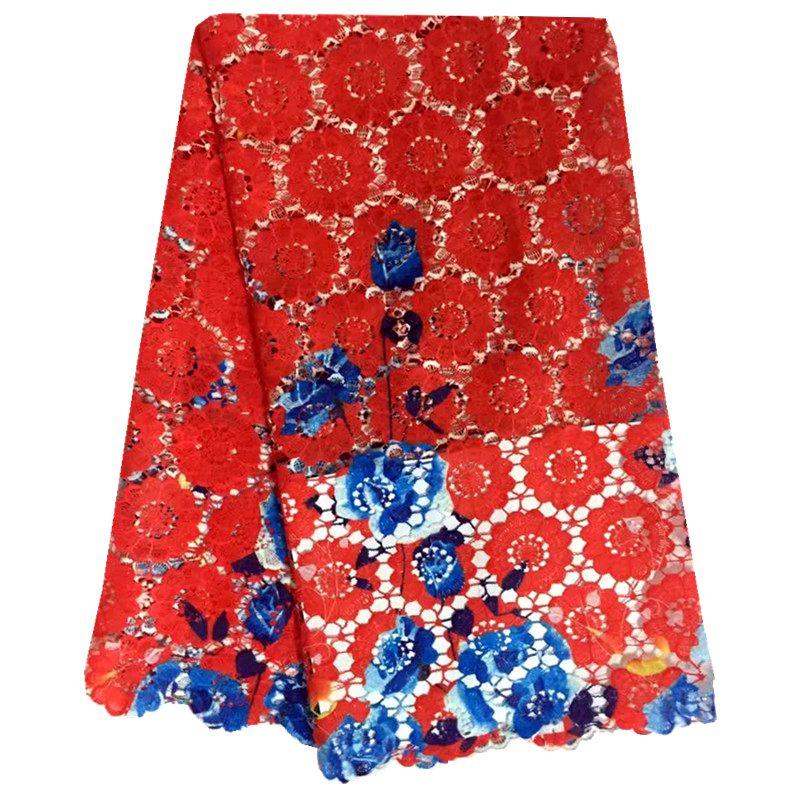 039a2d78f5 Vermelho Multi Color Impressão de Materiais Solúveis Em Água Rendas Cabo  Africano Laço de Tecido Bordado Guipure Tecido de Renda Muito Agradável 5  metros