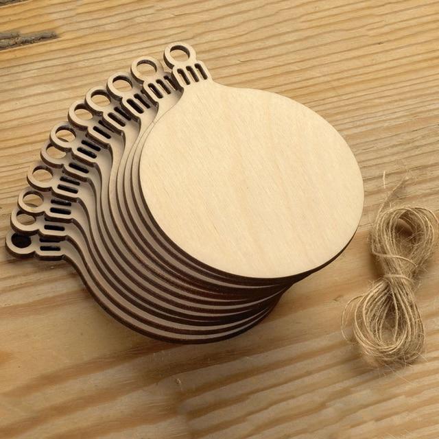 10pcs wooden round baubles tags christmas balls decorations art craft ornaments diy xmas decors