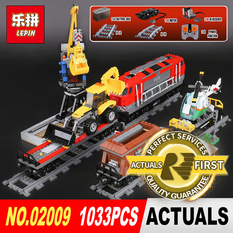 Lepin 02009 1033Pcs Genuine City Series The Heavy-haul Train Set 60098 Building Blocks Bricks Toys for Children Christmas Gift the new jjrc1001 lepin city construction series building blocks diy christmas gift for kid legoe city winter christmas hut toy