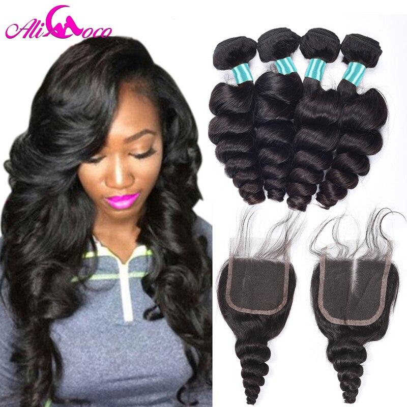 Али Коко Малайзии свободная волна 3 Связки с закрытием 100% натуральные волосы Weave Связки с закрытием ребенок волос-Волосы remy