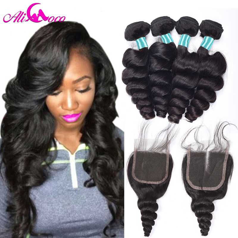 Ali Coco Malaysian Loose Wave 3 Bundles With Closure 100% Human Hair Weave Bundles with Baby Hair Closure Non-Remy Hair