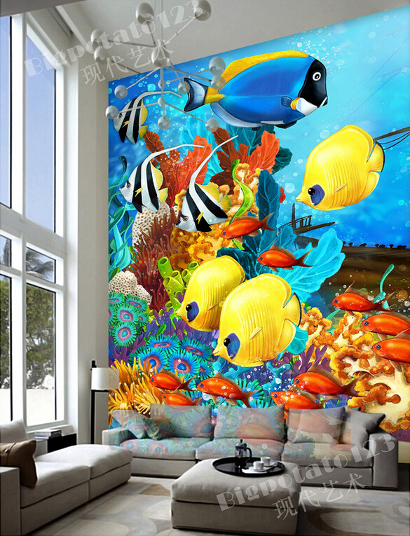 цена на The latest 3D murals,beautiful dream blue sea bottom color deep sea fish. Living room sofa TV wall children bedroom wallpaper.