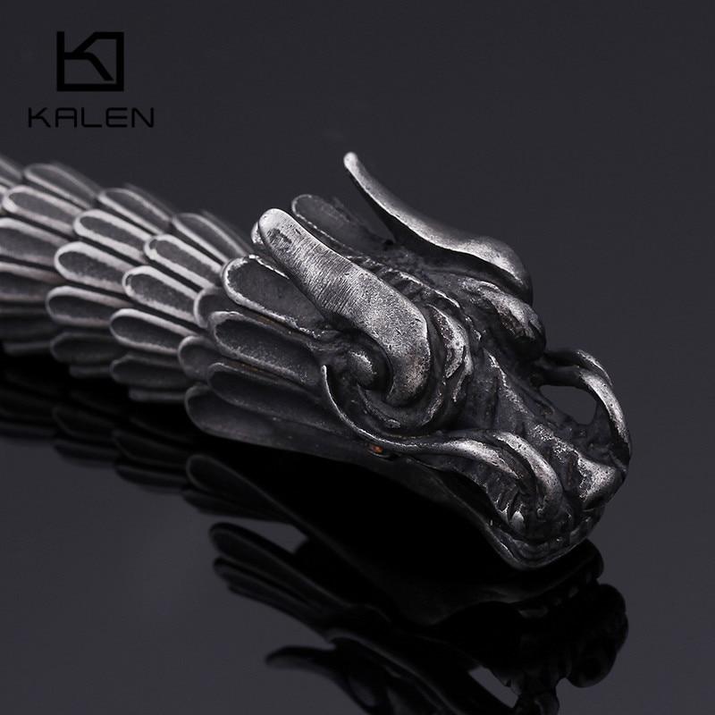 Image 3 - KALEN Punk Animal Dragon Head Charm Bracelet Men Stainless Steel Black Matte China Dragon Blessing Bracelet Bangle Jewelry-in Charm Bracelets from Jewelry & Accessories