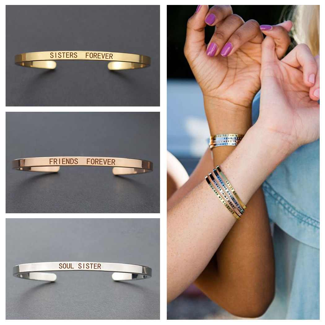 Sister Forever Friends Forever Quote Bracelet Stainless Steel Engraved Cuff Bracelet for Women Sisters Jewelry Friendship Gift