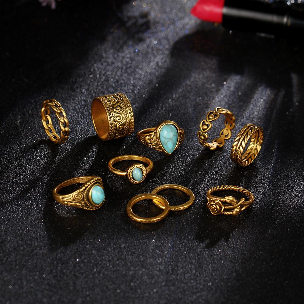 HTB16K9WRXXXXXXsXFXXq6xXFXXXf 10-Pieces Vintage Tibetan Turquoise Knuckle Ring Set For Women - 2 Colors