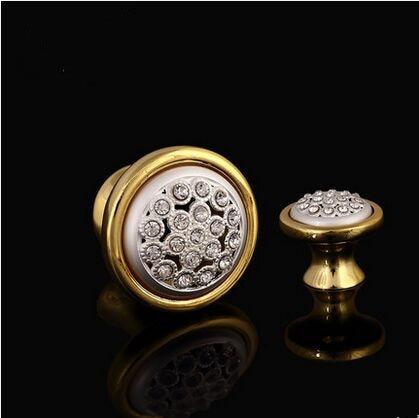 deluxe gold drawer pull knob cabinet knob crystal diamond white dresser cupboard wardrobe furniture decoration knob handle pull
