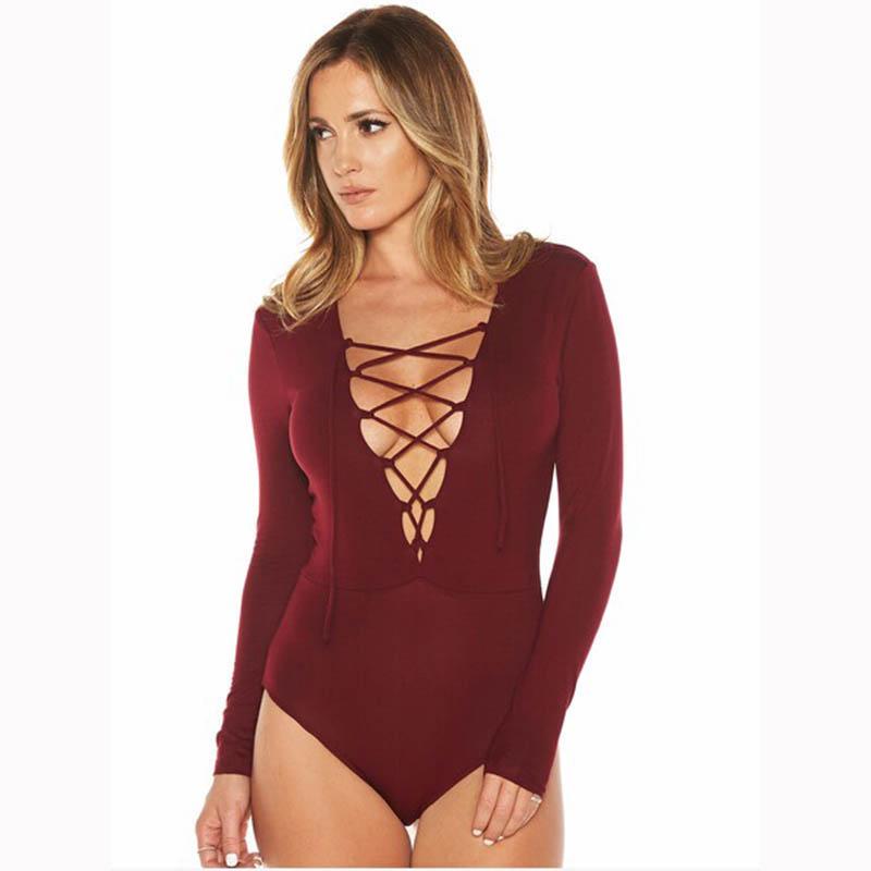 Dream Vine Plus Size Cross Lace Up Jumpsuit Romper Women Autumn Winter Bandage Bodysuit Overalls Sexy V Neck Playsuit Leotard