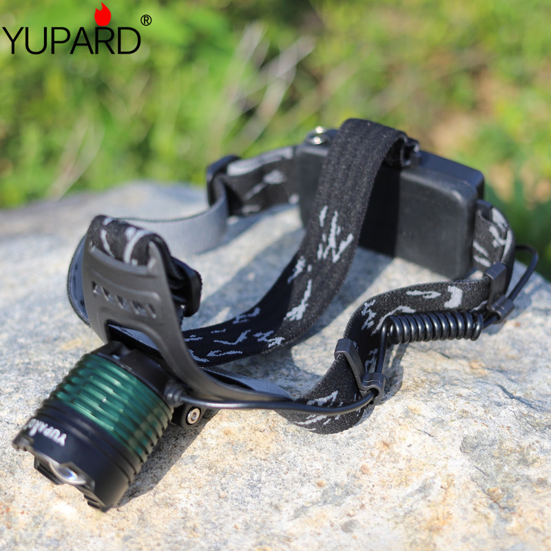YUPARD FREE SHIPPING 줌 헤드 램프 LED 토치 라이트 XM-L2 T6 LED 2 * 18650 충전식 헤드 램프 줌 가능한 캠핑 낚시