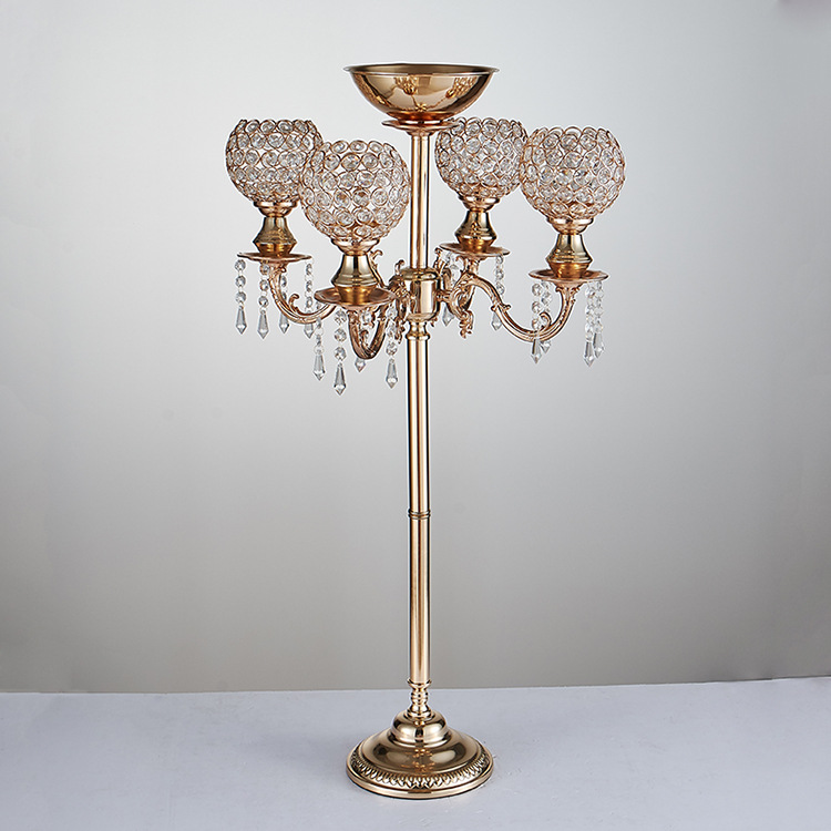 Obliging Gold Wedding Crystal Candelabras Wedding Centerpiece Flower Stand Home Decor Candles & Holders