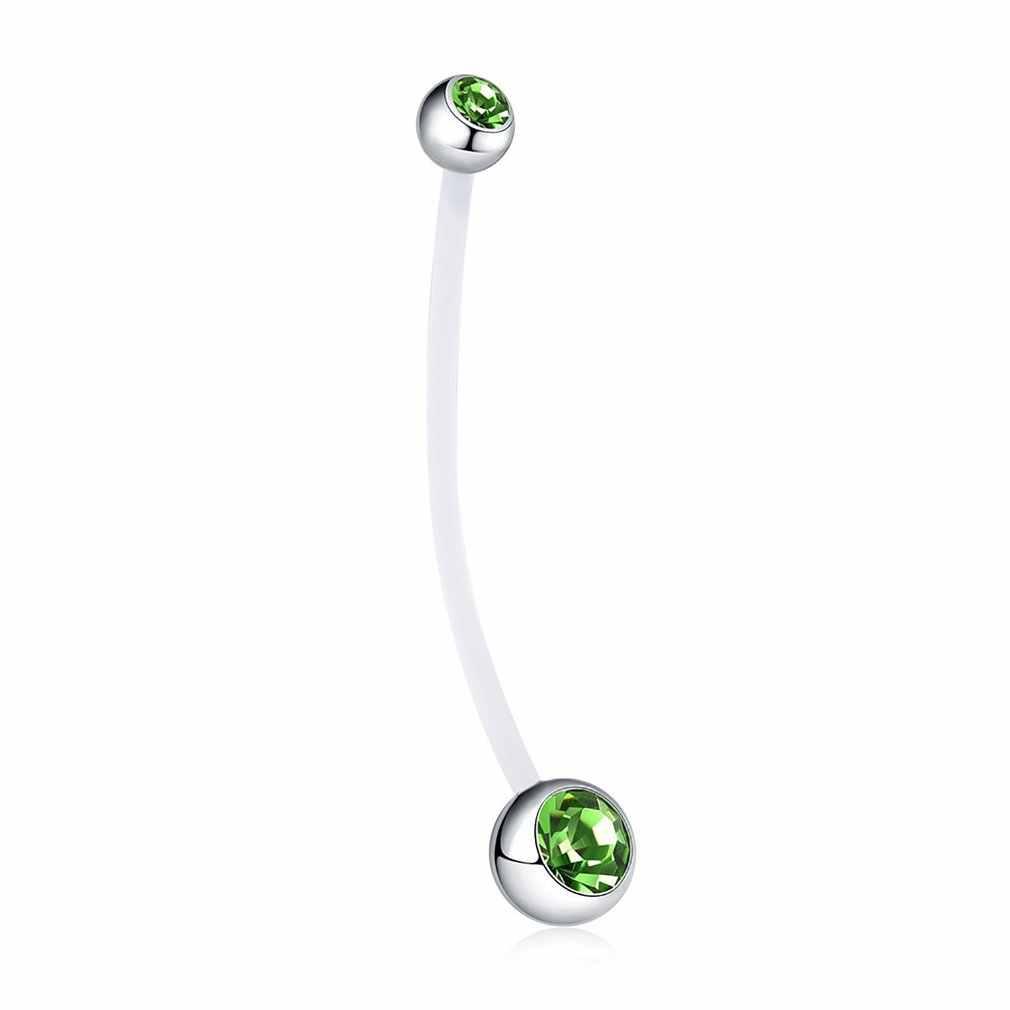 Anti Allergy Navel ผ่าตัด Belly แหวนปุ่ม Navel Piercing แหวนสำหรับแหวนการตั้งครรภ์ Bioplast ปุ่ม Retainer