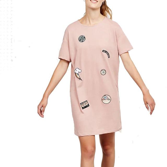European Fashion 2016 Sweet Women Cartoon Appliques Pink Dress Style T Shirt O-Neck Female Short Sleeve Casual Loose Long Tees