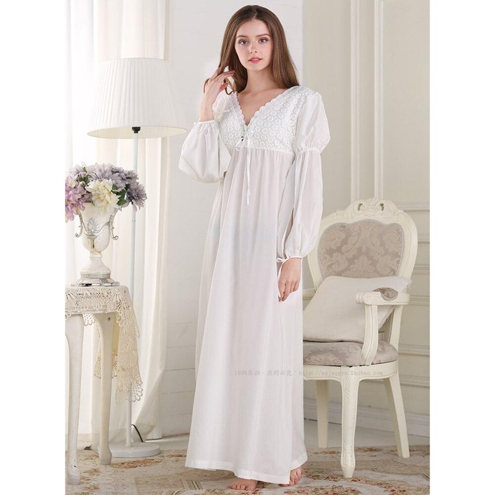 06ffc359ab Free Shipping Cotton Princess Nightdress Women s White Pijamas Long ...