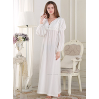 Special Offer 2016 Spring Luxurious Cotton Princess Nightgowns Embroidered Lace Ankle Length Nightdress Retro Palace Lingerie