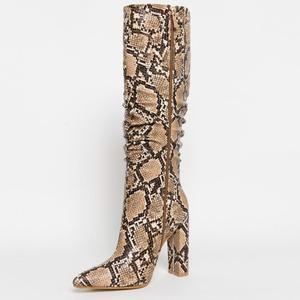 Image 2 - MORAZORA حجم كبير 36 41 الأوروبية النساء الأحذية ثعبان الجلود الاصطناعية عالية الكعب حذاء برقبة للركبة سستة السيدات الأحذية الإناث
