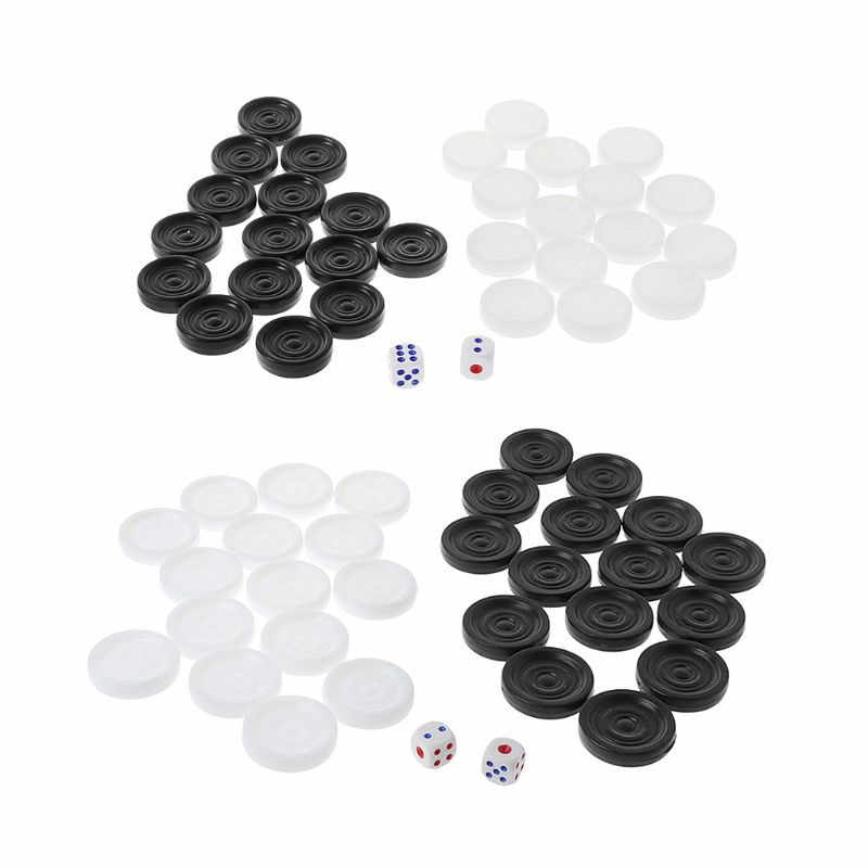 30 pcs Black & White Backgammon Scacchi di Plastica Internazionale Dama Dama