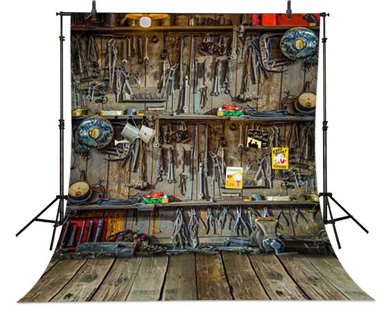 Vintage Repair Shop Mechanic Repair Tools Wood Floor Backgrounds for sale Vinyl cloth Computer printed wall  backdrop edison chandelier vintage d220mm e27 black finished iron shade industrial pendant lamp ac110 240v with brass finished socket