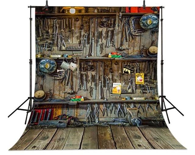 Vintage reparatie winkel monteur reparatie tools houten vloer