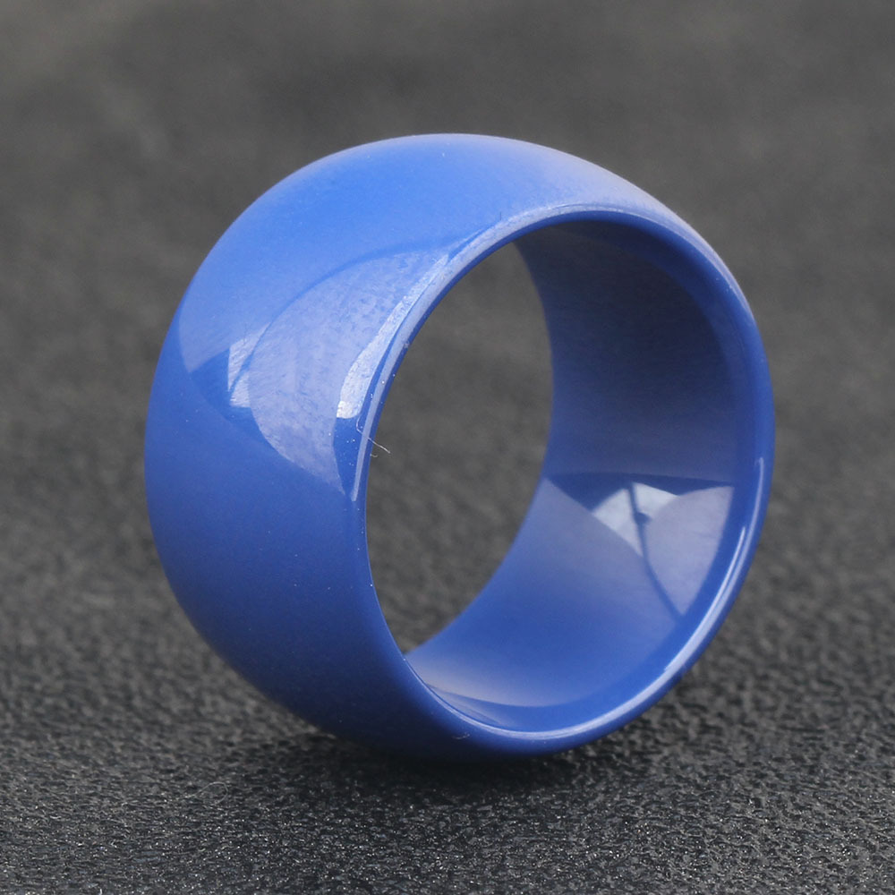 Luxury White Ceramic Ring Engagement Promise Ring Wedding Band Blue Polished Surface Curved Ceramics Rings for Women Men Jewelry