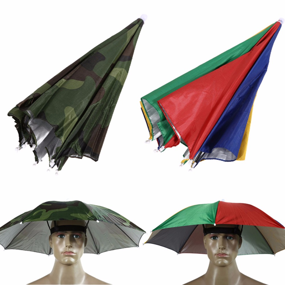 Detail Feedback Questions About Outdoor Portable 55cm Umbrella Hat Sun Fishing Hiking Beach Festivals Camouflage Foldable Cap Head Shade Hands Parasol On