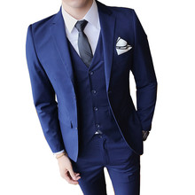 (Jacket + pants + vest) male business Slim high-end suit 3 sets / wedding banquet British style simple style blazers Plus size