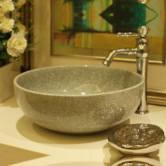 Bathroom Lavabo Ceramic Countertop Wash Basin Cloakroom Hand Painted Vessel Sink Le Glazing
