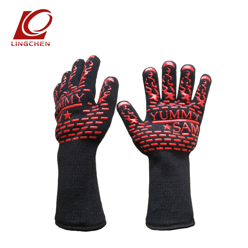 1 Pair Heat Resistant Gloves for Outdoor Camping Kitchen COOKING Aramid Heat Insulation Oven Mitts Red Silicone Flame Retardant nmsafety aramid fire insulation gloves with bbq heat resistant oven kitchen glove